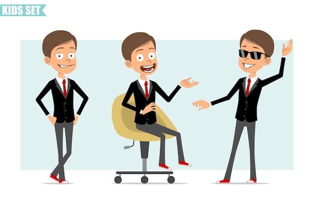 빨간 넥타이와 검은 자 켓에 만화 평면 재미 비즈니스 소년 캐릭터. 웃고, 사진에 포즈를 취하고 의자에 쉬고있는 아이. 애니메이션 준비. 회색 배경에 고립. 세트.