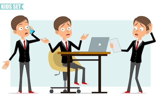 빨간 넥타이와 검은 자 켓에 만화 평면 재미 비즈니스 소년 캐릭터. 노트북에서 작업하고 메모를 읽고 전화를하는 아이. 애니메이션 준비. 회색 배경에 고립. 세트.