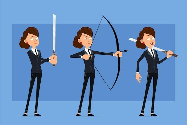 검은 넥타이와 검은 양복에 만화 평면 재미 비즈니스 여자 캐릭터. katana 칼을 들고 활에서 촬영하는 소녀.