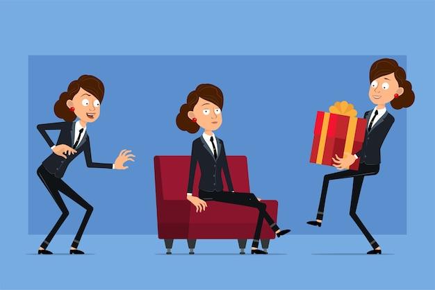 검은 넥타이와 검은 양복에 만화 평면 재미 비즈니스 여자 캐릭터. 몰래, 소파에 쉬고 크리스마스 선물을 들고 소녀.
