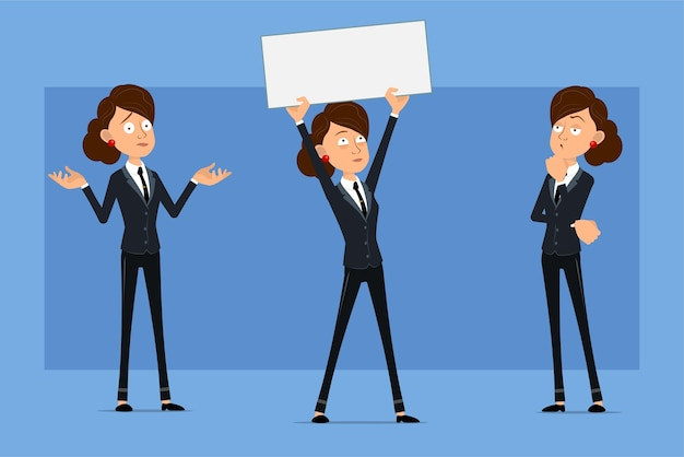 黒のネクタイと黒のスーツの漫画フラット面白いビジネス女性キャラクター。テキストの空白の記号を考え、ポーズをとって保持している女の子。