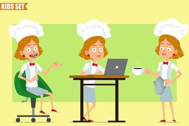 흰색 유니폼과 베이커 모자에 만화 평면 재미 요리사 요리 여자 캐릭터. 아이 포즈와 접시에 커피 주전자 냄비와 컵을 들고.