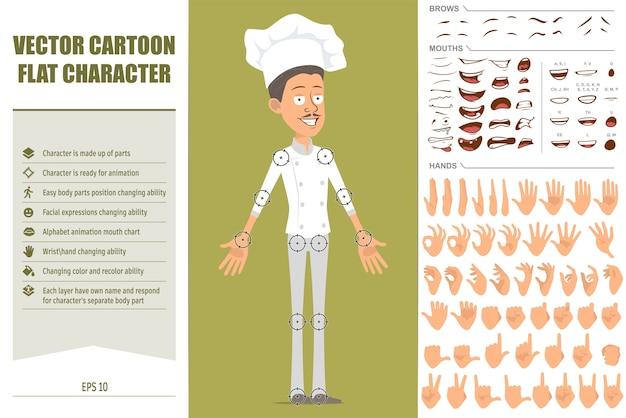 흰색 유니폼과 베이커 모자에 만화 평면 재미 요리사 요리사 남자 캐릭터. 얼굴 표정, 눈, 눈썹, 입, 손.