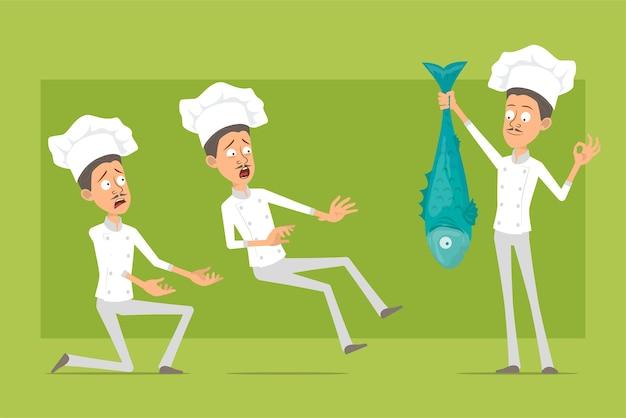 Мультяшный плоский смешной повар повар человек персонаж в белой форме и шляпе пекаря. человек показывает нормально знак и держит большую свежую рыбу.