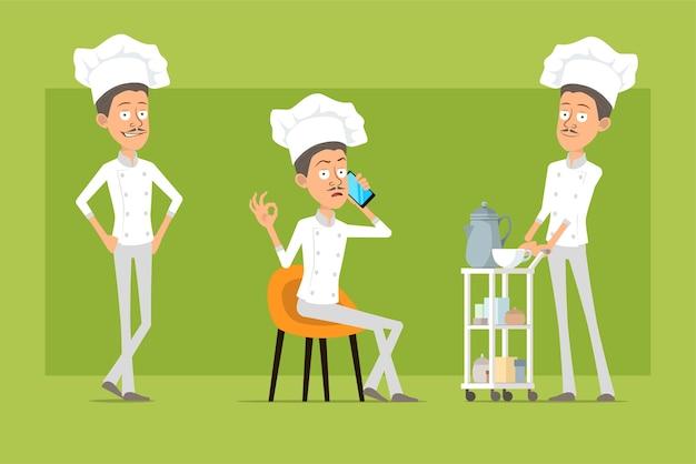 Мультяшный плоский смешной повар повар человек персонаж в белой форме и шляпе пекаря. человек разговаривает по телефону и гуляет с журнальным столиком в отеле.