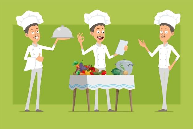 白い制服とパン屋の帽子の漫画フラット面白いシェフ料理人のキャラクター。さまざまな野菜から食品を調理するトレイを持つ男。