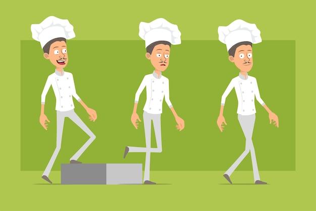 Мультяшный плоский смешной повар повар человек персонаж в белой форме и шляпе пекаря. успешный усталый человек, идущий к своей цели.