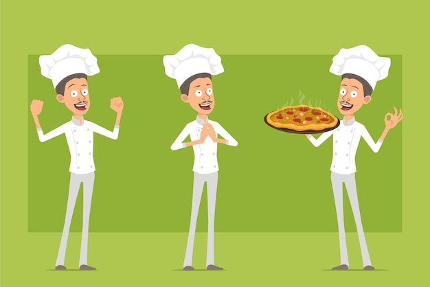 Cartoon flat funny chef cook man character in white uniform and baker hat. man holding italian pizza with salami and mushrooms.