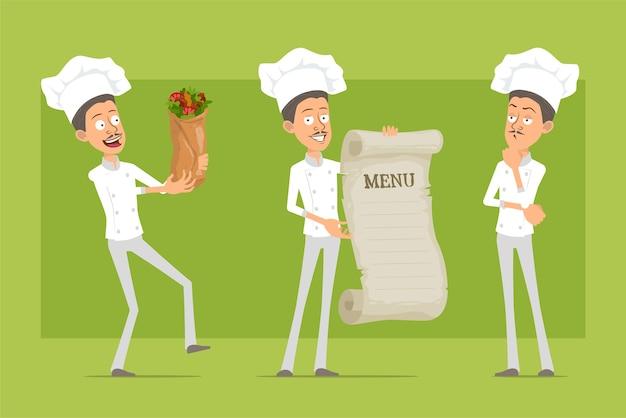 Cartoon flat funny chef cook man character in white uniform and baker hat. man holding restaurant menu and tasty kebab shawarma.