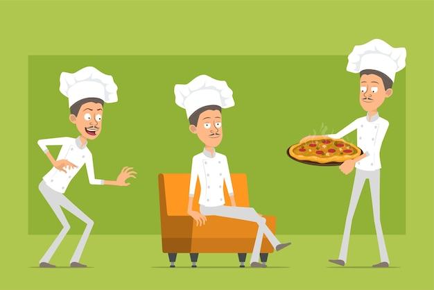 Cartoon flat funny chef cook man character in white uniform and baker hat. man resting, carrying italian pizza with salami.