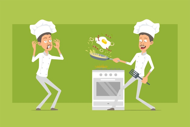 Cartoon flat funny chef cook man character in white uniform and baker hat. man scared and cooking fried egg with bacon.