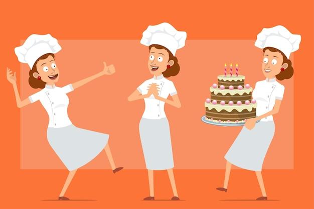 白い制服とパン屋の帽子の漫画フラット面白いシェフ料理人女性キャラクター。バースデーケーキを持って親指を立てる女の子。