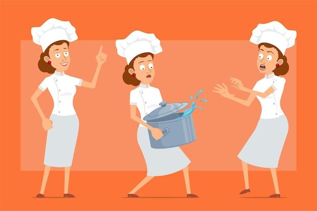 白い制服とパン屋の帽子の漫画フラット面白いシェフ料理人女性キャラクター。水と金属の鍋を運ぶ女の子、注意のサイン。