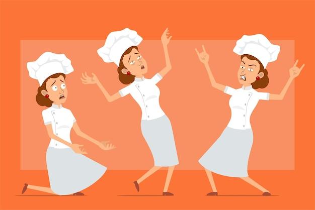白い制服とパン屋の帽子の漫画フラット面白いシェフ料理人女性キャラクター。ロックンロールのサインを見せて、転んでいる女の子。