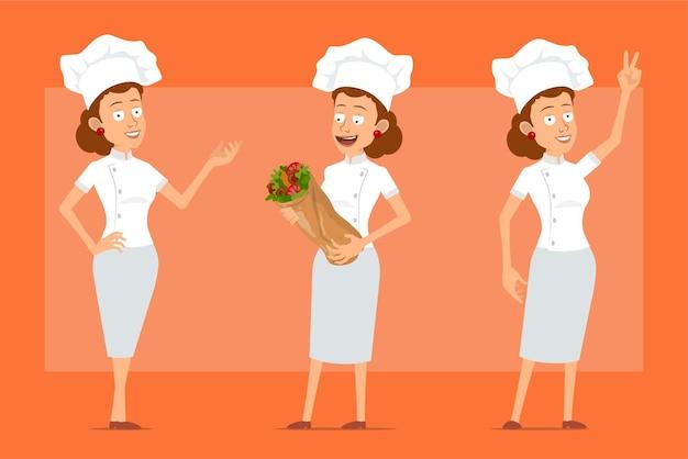 白い制服とパン屋の帽子の漫画フラット面白いシェフ料理人女性キャラクター。おいしいケバブシャワルマを保持し、ピースサインを示している女の子。