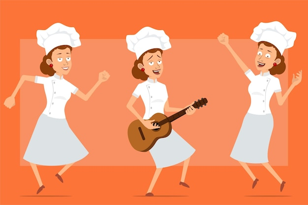 흰색 유니폼과 베이커 모자에 만화 평면 재미 요리사 요리 여자 캐릭터. 소녀 점프, 춤 및 기타에 바위를 연주.