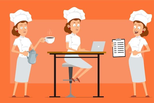 흰색 유니폼과 베이커 모자에 만화 평면 재미 요리사 요리 여자 캐릭터. 소녀 포즈와 접시에 커피 주전자 냄비와 컵을 들고.