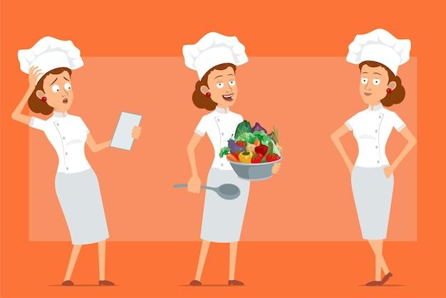白い制服とパン屋の帽子の漫画フラット面白いシェフ料理人女性キャラクター。メモを読んで、野菜とスプーンを保持している女の子。