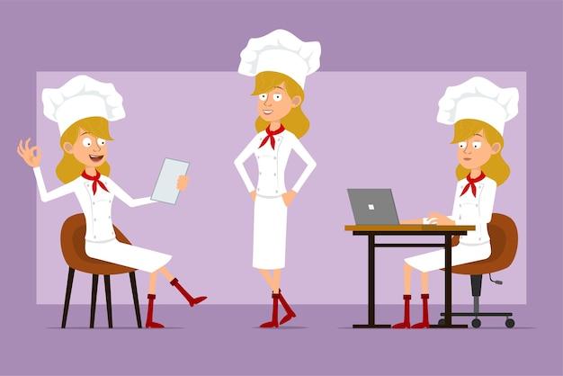 白い制服とパン屋の帽子の漫画フラット面白いシェフ料理人女性キャラクター。ノートを読んで、ラップトップで作業し、大丈夫な兆候を示している女の子。
