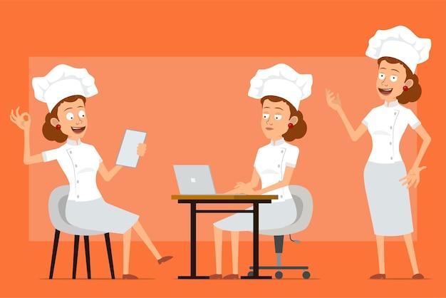 白い制服とパン屋の帽子の漫画フラット面白いシェフ料理人女性キャラクター。ノートを読んで、ラップトップで作業し、大丈夫サインを示している女の子。