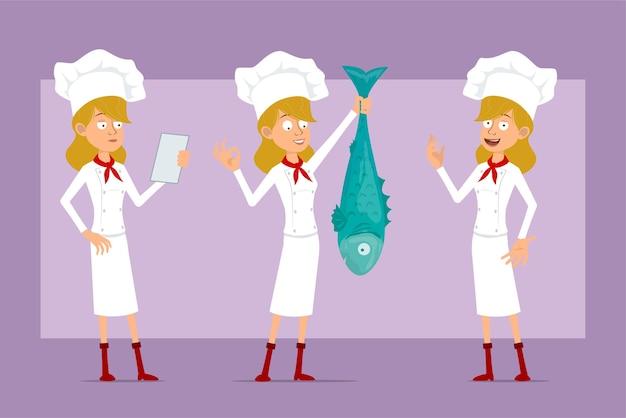 흰색 유니폼과 베이커 모자에 만화 평면 재미 요리사 요리 여자 캐릭터. 읽기, 확인 표시 및 큰 물고기를 들고 소녀.