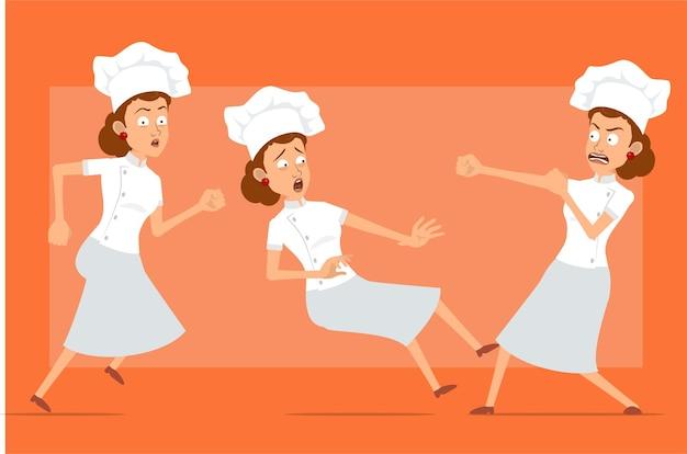 白い制服とパン屋の帽子の漫画フラット面白いシェフ料理人女性キャラクター。走って、戦って、倒れる女の子。