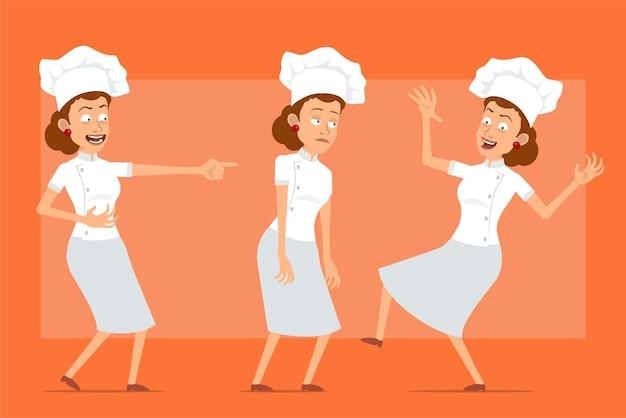 白い制服とパン屋の帽子の漫画フラット面白いシェフ料理人女性キャラクター。悲しい、疲れた、笑って、ジャンプして、踊っている女の子。