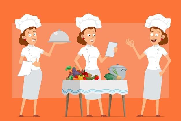 白い制服とパン屋の帽子の漫画フラット面白いシェフ料理人女性キャラクター。さまざまな野菜から食品を調理するトレイを持つ少女。