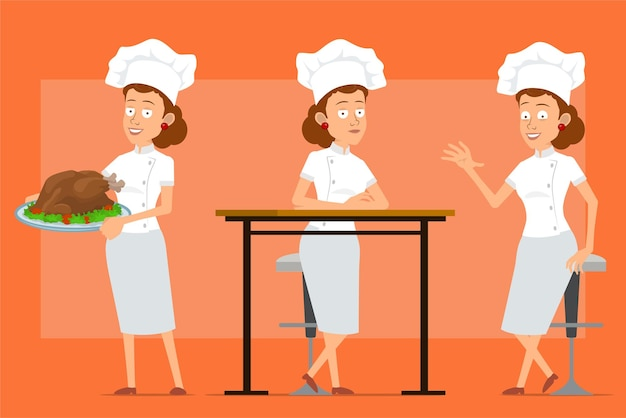 Cartoon flat funny chef cook woman character in white uniform and baker hat. girl posing and carrying tasty fried turkey or chicken.