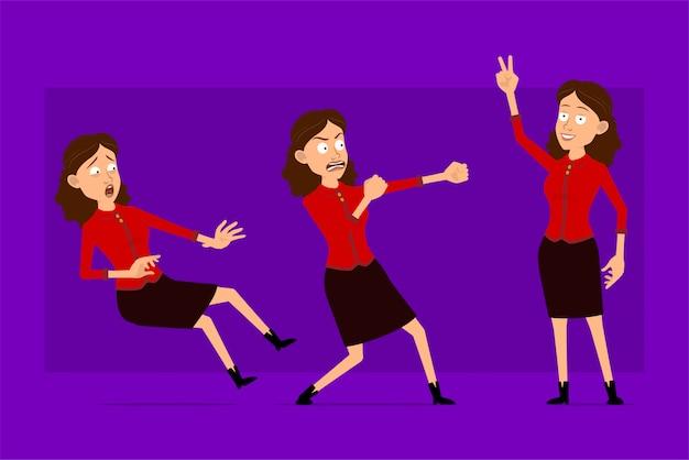 赤いシャツで漫画フラット面白いかわいいビジネス女性キャラクター。アニメーションの準備ができています。戦う準備ができて、ピースサインを見せて怒っている女の子。紫色の背景に分離されました。大きなアイコンを設定します。