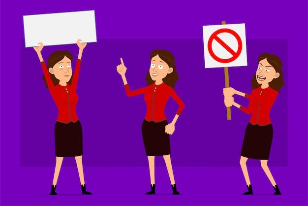 赤いシャツで漫画フラット面白いかわいいビジネス女性キャラクター。アニメーションの準備ができています。テキストの一時停止の標識と空の空白記号を示している女の子。紫色の背景に分離されました。大きなアイコンを設定します。