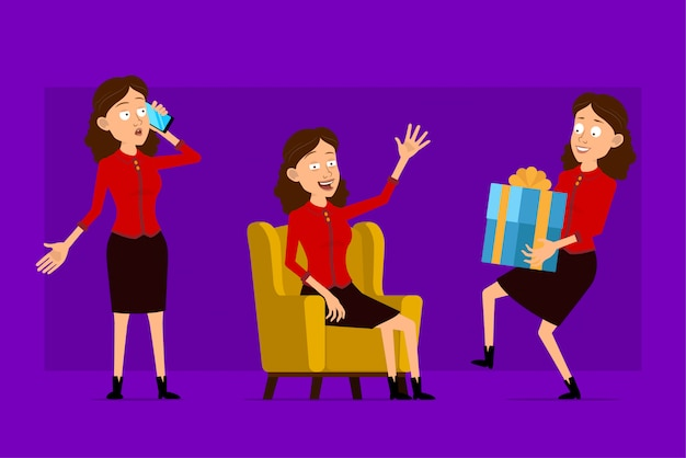赤いシャツで漫画フラット面白いかわいいビジネス女性キャラクター。アニメーションの準備ができています。携帯電話が付いているソファーに座っていると現在のギフトを運ぶ女の子。紫色の背景に分離されました。大きなアイコンを設定します。