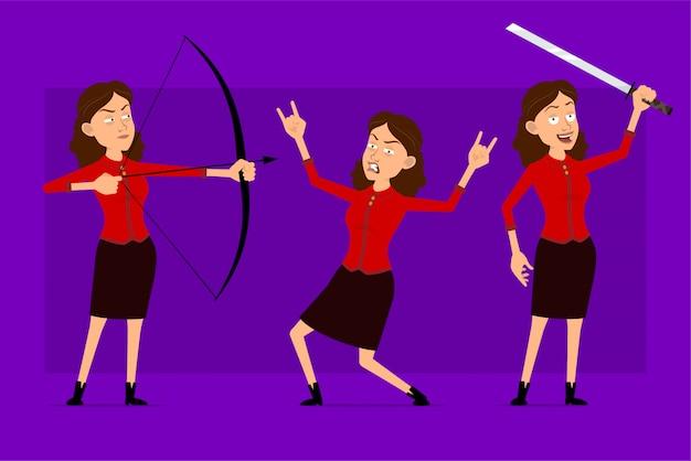 빨간 셔츠에 만화 평면 재미 귀여운 비즈니스 여자 캐릭터. 애니메이션 준비. 아시아 검, 활과 화살을 가진 로큰롤 소녀. 보라색 배경에 고립. 큰 아이콘을 설정합니다.