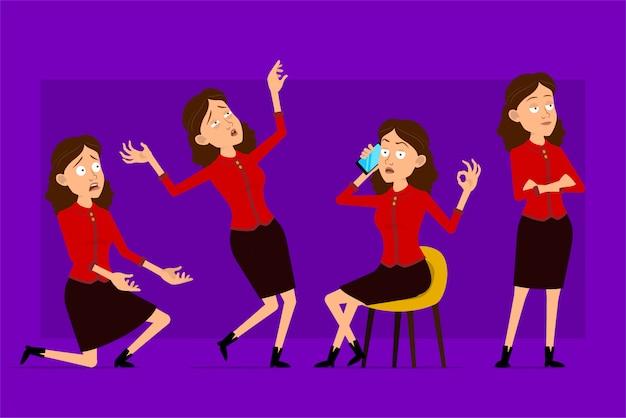 赤いシャツで漫画フラット面白いかわいいビジネス女性キャラクター。アニメーションの準備ができています。仕事と電話で話している疲れているオフィスの女の子。紫色の背景に分離されました。大きなアイコンを設定します。