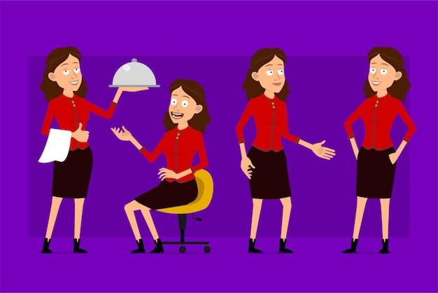 빨간 셔츠에 만화 평면 재미 귀여운 비즈니스 여자 캐릭터. 애니메이션 준비. 저녁 식사 트레이와 웨이터 소녀. 의자에서 일하고 쉬고 있습니다. 보라색 배경에 고립. 큰 아이콘을 설정합니다.