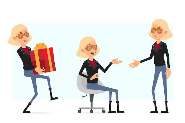 Мультфильм плоский смешной милый рок-н-ролл девушка персонаж в кожаной куртке. блондинка девушка с подарком и сидя на диване.