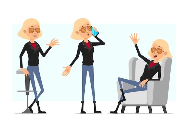 Мультфильм плоский смешной милый рок-н-ролл девушка персонаж в кожаной куртке. блондинка разговаривает по телефону и показывает приветственный жест.
