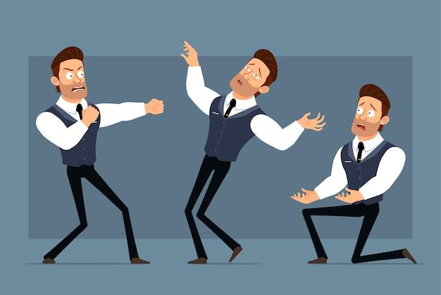 Мультяшный плоский забавный милый сильный мускулистый бизнесмен с черным галстуком. готовы к анимации. злой мальчик борется и падает. изолированные на сером фоне. большой набор иконок.