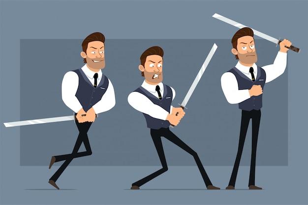 검은 넥타이와 만화 평면 재미 귀여운 강한 근육 사업가 캐릭터. 애니메이션 준비. katana 칼으로 싸우는 화가 소년. 회색 배경에 고립. 큰 아이콘을 설정합니다.