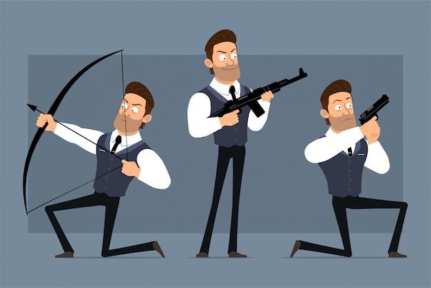 검은 넥타이와 만화 평면 재미 귀여운 강한 근육 사업가 캐릭터. 애니메이션 준비. 권총, 소총, 활 촬영 화가 소년. 회색 배경에 고립. 큰 아이콘을 설정합니다.