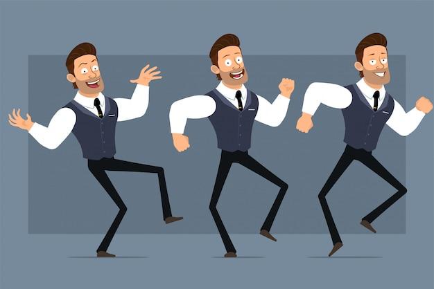 黒のネクタイと漫画フラット面白いかわいい強い筋肉ビジネスマンキャラクター。アニメーションの準備ができています。狂気の笑みを浮かべて少年ジャンプとダンス。灰色の背景に分離されました。大きなアイコンを設定します。