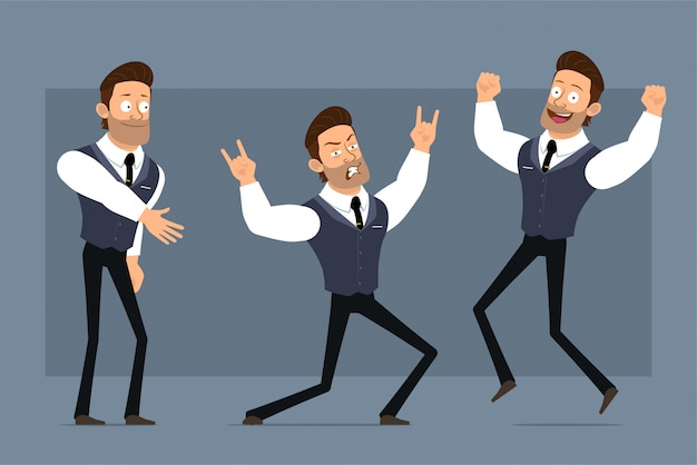 黒のネクタイと漫画フラット面白いかわいい強い筋肉ビジネスマンキャラクター。アニメーションの準備ができています。ロックンロールの少年ジャンプとダンス。灰色の背景に分離されました。大きなアイコンを設定します。