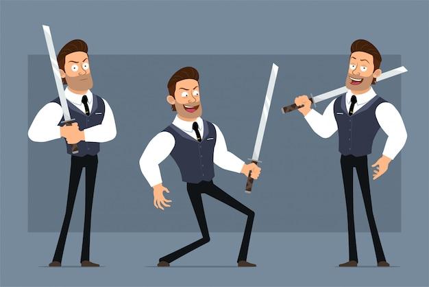 黒のネクタイと漫画フラット面白いかわいい強い筋肉ビジネスマンキャラクター。アニメーションの準備ができています。刀と戦う少年の笑顔。灰色の背景に分離されました。大きなアイコンを設定します。