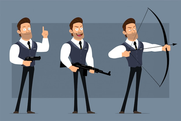 黒のネクタイと漫画フラット面白いかわいい強い筋肉ビジネスマンキャラクター。アニメーションの準備ができています。微笑む少年がピストル、ライフル、弓で撃ちます。灰色の背景に分離されました。大きなアイコンを設定します。