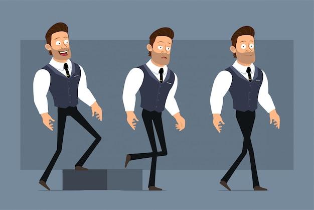 黒のネクタイと漫画フラット面白いかわいい強い筋肉ビジネスマンキャラクター。アニメーションの準備ができています。成功した少年は彼の目標に向かって歩いています。灰色の背景に分離されました。大きなアイコンを設定します。