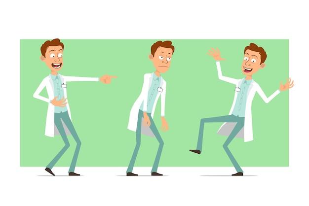 バッジ付きの白い制服を着た漫画フラット面白い医者の男のキャラクター。少年は悲しい、疲れた、笑って踊る。