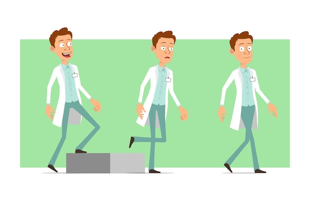 Cartoon flat funny doctor man character in white uniform with badge. successful tired boy walking up to his goal.