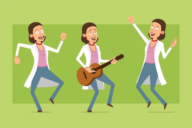 흰색 유니폼에 만화 평면 재미 의사 여자 캐릭터. 소녀 점프, 춤과 기타 연주. 애니메이션 준비. 녹색 배경에 고립. 세트.