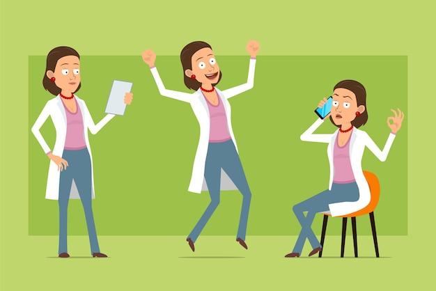 Мультяшный плоский смешной доктор женщина персонаж в белой форме. девушка разговаривает по телефону, прыгает и читает документ. готов к анимации. изолированные на зеленом фоне. набор.