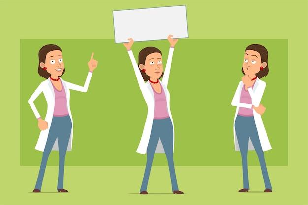 Мультяшный плоский смешной доктор женщина персонаж в белой форме. девушка думает и держит знак чистого листа бумаги для текста. готов к анимации. изолированные на зеленом фоне. набор.